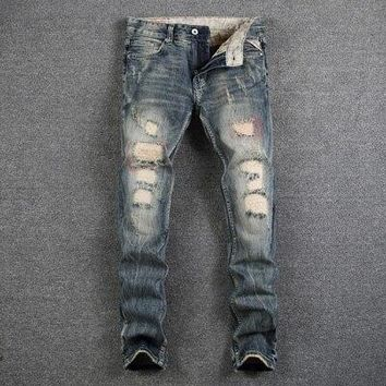 Men's Street Style Fashion Designer Jeans Destroyed Ripped Jeans Casual Pants Slim Fit Streetwear Stretch Biker Jeans