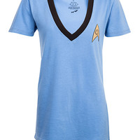 Star Trek Logo V-Neck Ladies' Tee - Blue,