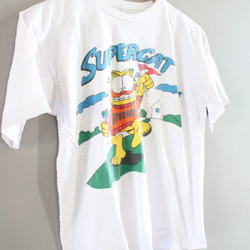 Vintage 80s Garfield Cat T-shirt Garfield Comic Tee Super Cat Surfing White Cotton Tee Paper Thin Collectible Jim Davis 80s Size M #T147A
