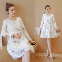 Autumn Wear Princess Fashion Cute Embroidery Dresses Maternity Clothes For Pregnant Women Elegant Ladies Pregnancy Clothing