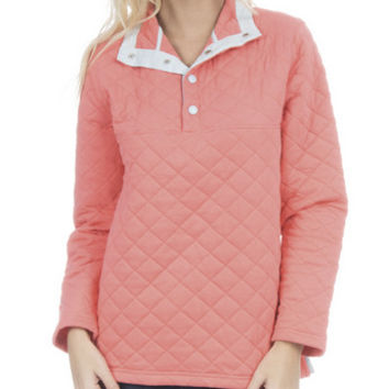 LAUREN JAMES CORAL LAWSON QUILTED PULLOVER