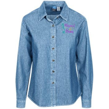 Mermaid Of Honor Women's LS Denim Shirt