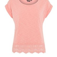 Teens Coral Short Sleeve Crochet Hem Top