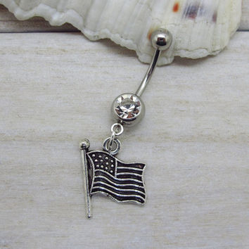 Antique Silver American Flag Belly Ring, USA Flag Belly Ring, Merica American, Fourth of July Independence , America stars and stripes