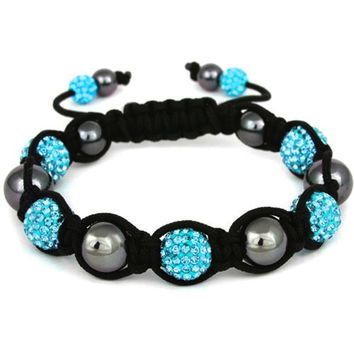 BodyJ4You Disco Balls Bracelet 7 Aqua Beads Pave Crystals Adjustable Wrist Iced Out Jewelry