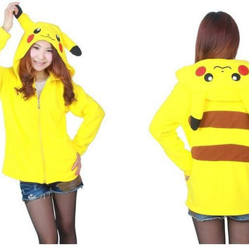 Kawaii Cartoon Anime Animal Pikachu Panda Pink Stitch Umbreon Rilakkuma Bear Women Men Hoodie Jacket Cosplay Couple Hoody Fleece