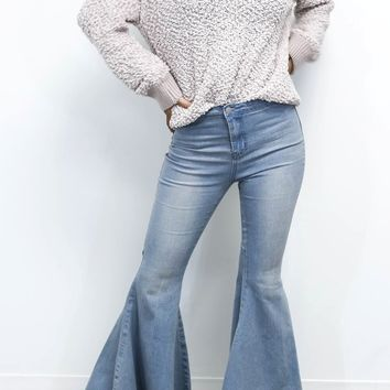 Let's Fall Light Denim Bell Bottom Jean