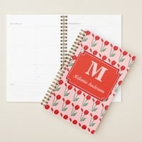 Red Tulips Print Pink Personalized Spiral Planner