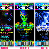 Printable Glow Party Invitation - Glow In The Dark Party Invitation - Neon Glow Paint Invite - Teen Girl - Teen Boy - DIY - Paint Splatter