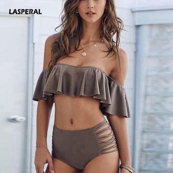 LASPERAL Sexy Swimwear Women Off Shoulder Bikini Set Ruffle Swimsuit High Waist Bathing Suit Two-piece Swimming Suit Swim Wear