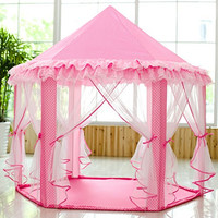 SkyeyArc Princess Playhouse With Lace, Kids Play Tent, Pink Play Castle, Play Doll House, Great Christmas Gifts for Kids, Christmas decorations, Pink.