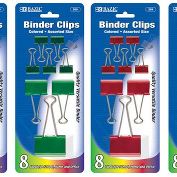 BAZIC Assorted Size Color Binder Clip (8/Pack) Case Pack 24