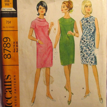 Sale Uncut 1960's McCall's Sewing Pattern, 8789! 14-16 Bust 34-36/Women's/Misses/Retro Dress/Slim Dress/Sleeveless & Short Sleeve Collared D