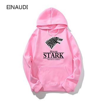 New Game of Thrones Dire wolf Men Hoodies And Sweatshirts Winter is Coming Cotton Hooded Top Quality