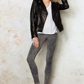 Victoria's Secret Fashion Acid Wash Black Gray Knit Leggings Long Pants Tights