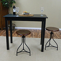 Antique Black Pavina Pub Bar Table | Overstock.com
