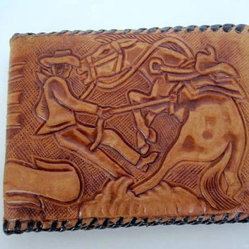 Hand Tooled Leather Rodeo Cowboy Wallet Vintage 50's