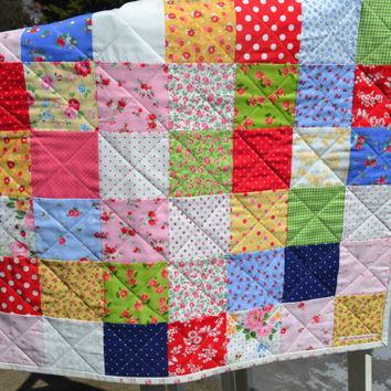 Handmade Quilted Patchwork Floral Baby Girl Quilt Crib Quilt Toddler Quilt Cottage Garden Lakehouse Dry Goods Pam Kitty Morning Fabric