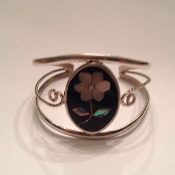 Vintage Alpaca Mexico Silver Cuff Bracelet Black Abalone Flower Mother of Pearl