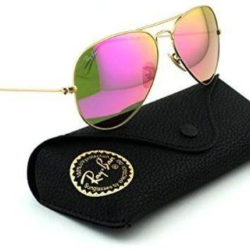 Ray-Ban RB3025 Aviator Large Metal Mirrored Unisex Sunglasses (Matte Gold Frame/