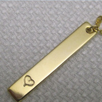 Initial Necklace,,Bar Necklace,Bridesmaid Gift, Engraved Jewelry,