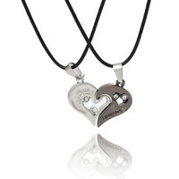New Couple Lovers' Pendant Necklaces For Women's and Men's 316L Stainless Jewelry Heart Necklace = 1929669508
