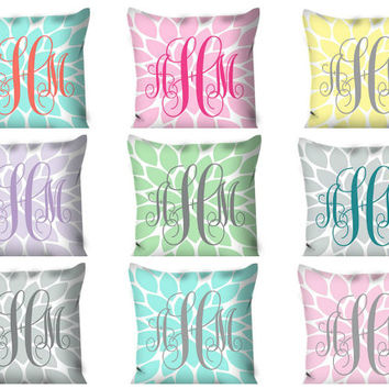 Monogram PILLOW Flower Burst Custom THROW Pillow with Insert or Pillow SHAM Pillow Case Choose Colors & Size Decor Nursery Bedding Baby Name
