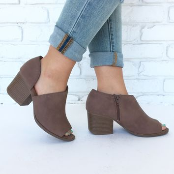 At The Core Open Toe Bootie Heels In Nutmeg Brown