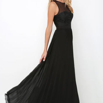 I'm Flattered Black Embroidered Maxi Dress