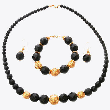 Faceted Black Onyx and 24K Gold Vermeil Necklace, Bracelet, and Earrings Set