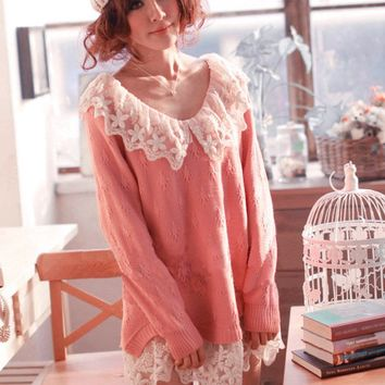 Sweet Lace Collar Sweater