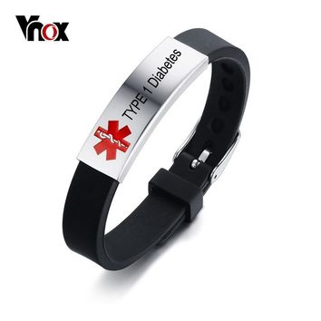 Vnox Free Engrave Record Customized Info Medical Alert ID Bracelet DIABETES EPILEPSY ALLERGY COPD