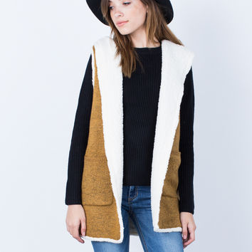 Fluffy Knit Hooded Vest