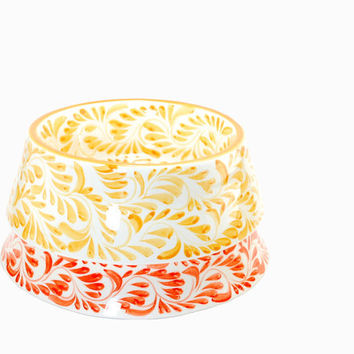 Talavera pet bowl - Orange tangerine and yellow dog bowls - Ceramic dog bowl - Pet gift - Orange bowl