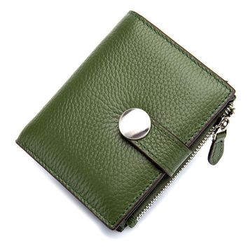 2017 Fashion Genuine Leather Women Wallet Wallets ID Card Holder Coin Purse With Zipper Small Women's Purse Green