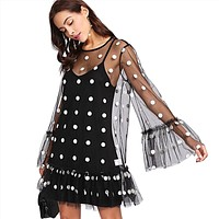 Fashion Polka Dots Perspective Gauze Long Sleeve Strap Dress Set Two-Piece