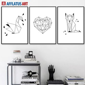AFFLATUS Geometric Swan Heart Fox Nordic Poster Wall Art Print Canvas Painting Animal PopArt Wall Pictures For Living Room Decor