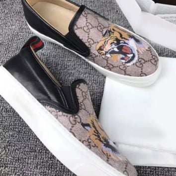 Gucci Fashion Casual Women Men Flowers Design Loafer Shoes Flat Shoes Tiger G