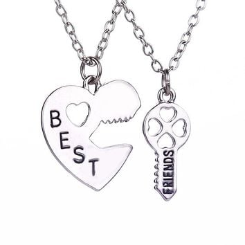 6 sets/lot = 12Pieces Best Friends Necklace Lock and Key Pendant Necklaces, silver heart best friends puzzle necklace