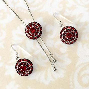 Red Wedding,Birthstone Jewelry Sets,Necklace Earrings,Red,July,Ruby,Prom Jewelry Long Y Necklace,Bridal Jewelry, Swarvoski Necklace