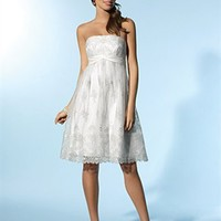 Empire Strapless Knee-length Lace Bridesmaid Dress SEM0044