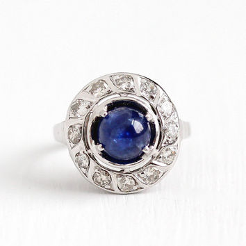 Vintage 18k White Gold 1.53 CT Sapphire Cabochon & Diamond Halo Ring - Size 5 1/4 1940s Fine Engagement Bridal Wedding Jewelry w/ Appraisal