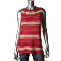 Ralph Lauren Womens Petites Linen Blend Printed Pullover Sweater