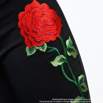 2018 New High Waist Black Embroidery Jeans Without Ripped Woman Fashion Floral Denim Pants Trousers For Women Jeans