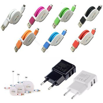 1M/2M/3M Retractable Micro USB Cable For Samsung Galaxy J3/J5/J7/A3/A5/A7 2016 S7/S6/Edge Note 5 EU Wall Phone Charger Adapter