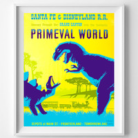 Disneyland Vintage, Disney Poster, Disneyland Print, Primeval World, Frontierland, Disney, Tomorrowland, Dinosaur Art, Halloween Decor