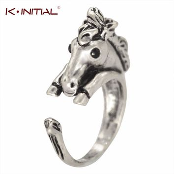Kinitial Hot Adjustable Bronco Horse Animal Vintage ring-Bronze Silver Women's Girl's Retro-Rings For Teen Valentine's Day Gift