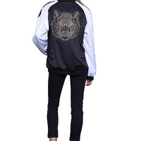 LION EMBROIDERED BOMBER - BLK/WHT
