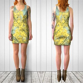 Women's Art Fitted or Flare Dress Sunny Blooms 3 fine art Modern Flower photography Fashion bright yellow mod circle pastel blue abstract
