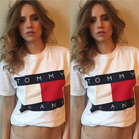"wanelu: :""Tommy Hilfiger ""Tommy men and women classic tee shirt T-shirt"